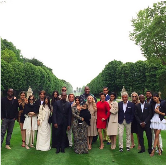 Kim shared a picture of the group who attended her pre-wedding day brunch which included some of her and Kanye's best friends and family. 