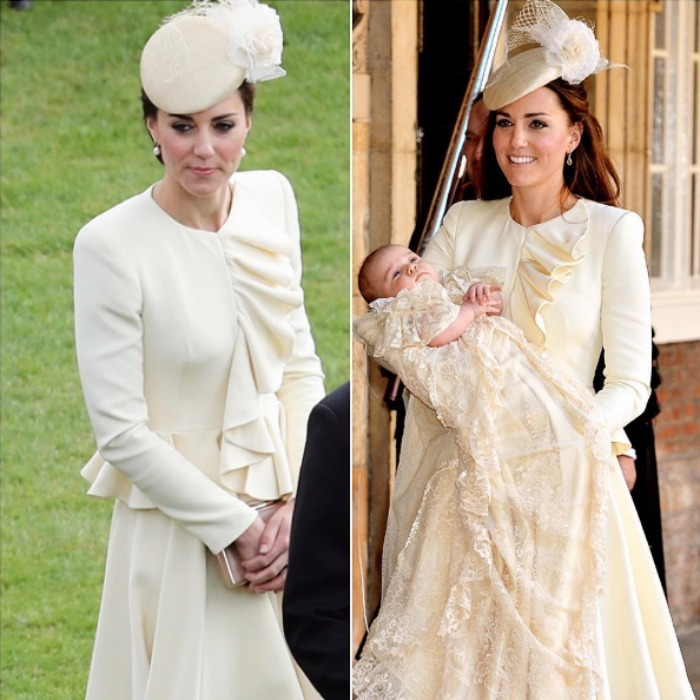 Repeat for tea with the Queen. Kate Middleton recycled her creme Alexander McQueen ensemble for a garden party hosted by Her Majesty at Buckingham Palace. The stylish royal first stepped out in the elegant attire, which she paired with a Jane Taylor pillbox hat, back in 2013 for Prince George's christening. For the 2016 garden party, she swept her hair up, and added pearl earrings and a box clutch.