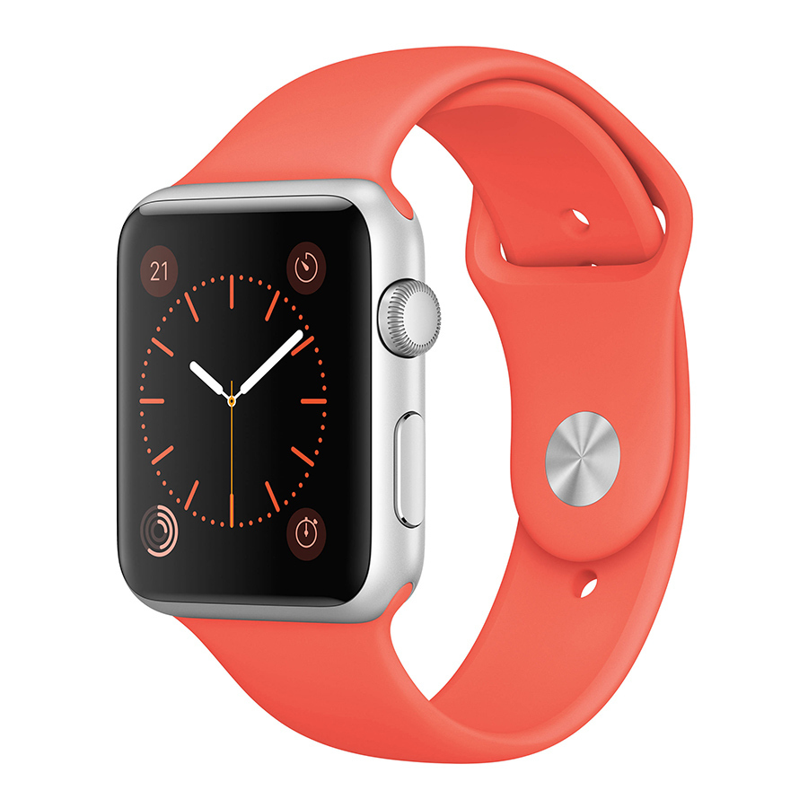 Apple Sport Watch 38mm Silver Aluminum Case with Apricot Sport Band, $299, apple.com
