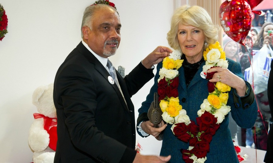 The Duchess of Cornwall was presented with an eye-catching wreath during her royal visit to Tottenham.