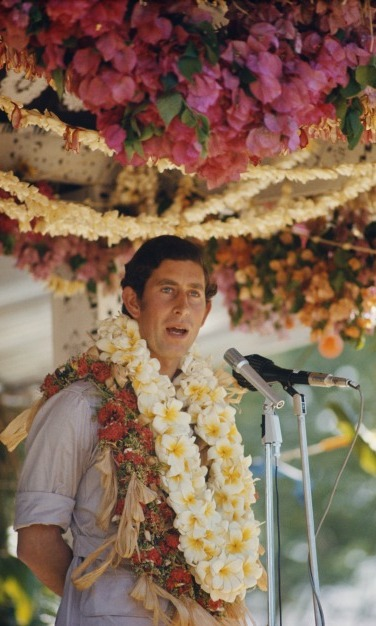 There was no shortage of blooms as Prince Charles gave a speech while visiting Fiji.