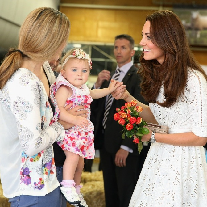 Flowers for a little princess! Kate had a moment full of flowers and smiles with a little guest during her visit to New Zealand.
