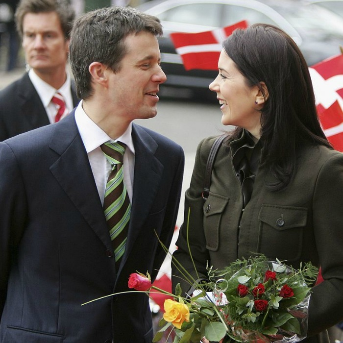 A look of love. Prince Frederik and Princess Mary stole a sweet moment together during a 2006 visit to a historical bank in Kiel, Germany. 