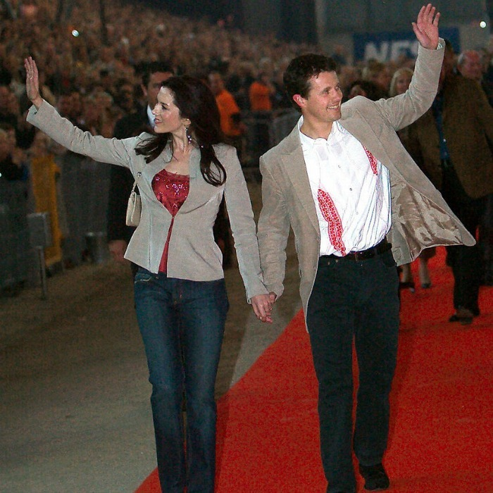 Rockstar couple: The Danish Crown prince attended the Rock'n'Royal concert at Copenhagen's Parken Stadium in 2004 with his then-fianceé Mary Donaldson.