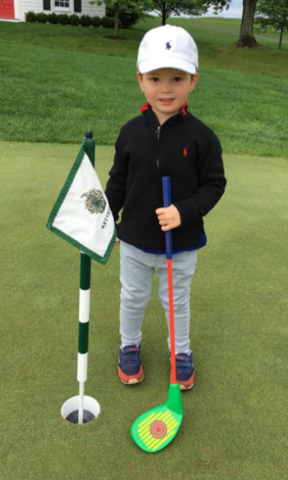Tee time! Joseph is already following in the footsteps of his avid golfer, grandfather Donald Trump. The adorable tot sported his golf attire for a kid-friendly session at the Trump National Golf Club in Bedminster, NJ.