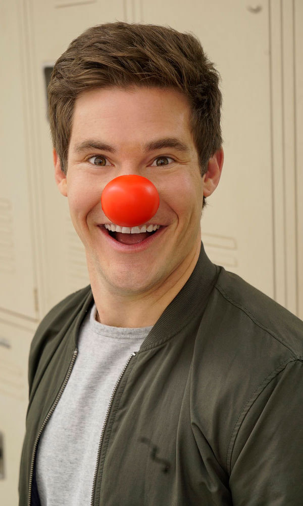 Adam Devine got silly with his red accessory for the kids.