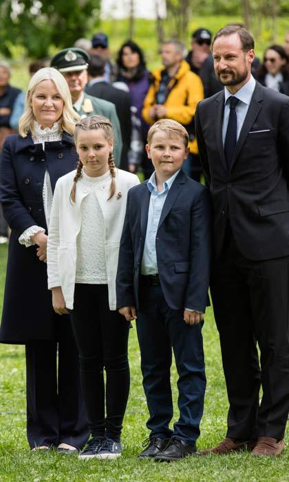 A family affair. Crown Prince Haakon of Norway and wife Crown Princess Mette-Marit took their children Ingrid Alexandra and Sverre Magnus to the Opening of The Princess Ingrid Alexandra Sculpture Park in Oslo.