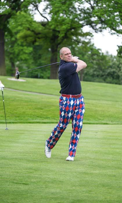 Pulling out his jazziest golf trousers, Mike Tindall took to the golf course to take part in the Celebrity Golf Classic 2016 in Sutton Coldfield.