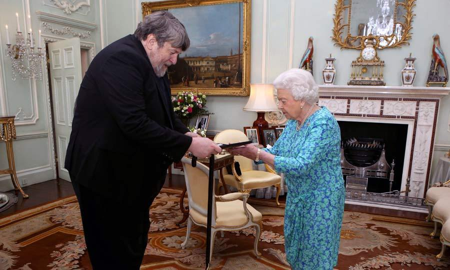 An invitation to the palace. Queen Elizabeth presented Oliver Knussen with The Queen's Medal for Music during an audience at her London residence.