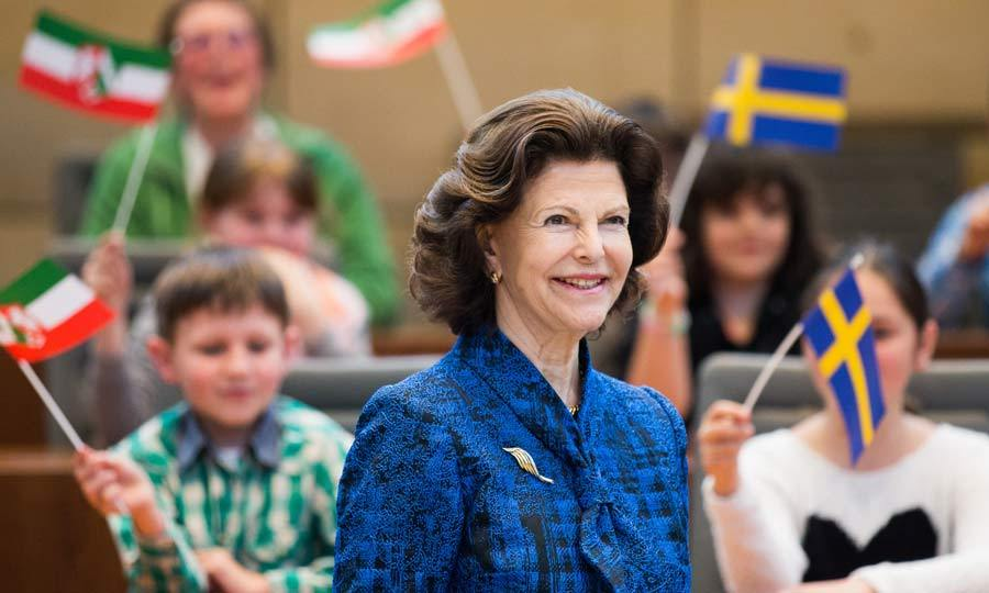 A royal welcome! Queen Silvia of Sweden was taken aback by the warm reception she received by local children as she arrived at the plenary hall in Duesseldorf, Germany.