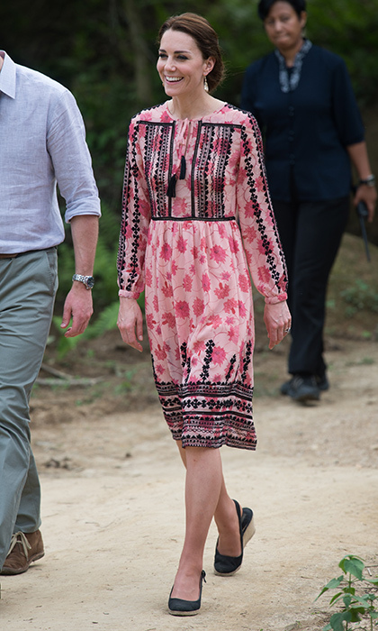 Kate showed off her fashion credentials wearing an embroidered flower print dress for her visit to the Centre for Wildlife Rehabilitation and Conservation at Kaziranga National Park during her tour of India.