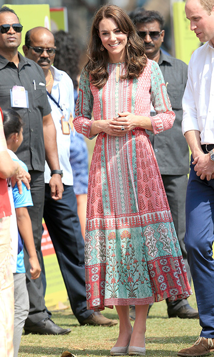 The Duchess of Cambridge was a breath of fresh summer air donning a white, teal and pink printed tunic dress by Mumbai designer Anita Dongre for her appearance at the Oval Maidan in India.