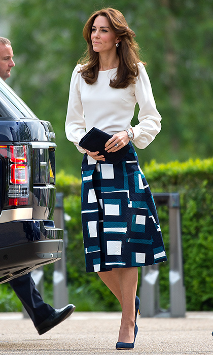 The royal was summer chic wearing a 1960s-inspired printed a-line jacquard skirt from Banana Republic for the launch of the Heads Together campaign.