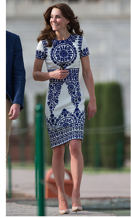 Kate wore a graphic motif by Indian-American designer Naeem Khanfor her visit to the Taj Mahal.
