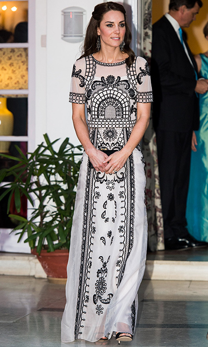 For a garden party in India, Kate paired her Temperley London maxi Indian-inspired embroidered skirt with a matching crop top. 