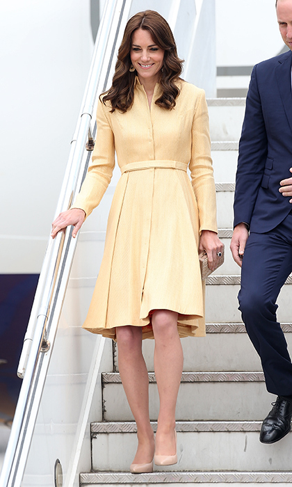 The royal made a stylish arrival to Bhutan in 2016 wearing an Emilia Wickstead coat dress in one of the season's hottest hues, yellow.