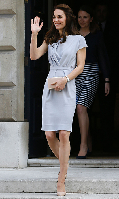 The Duchess of Cambridge looked cool and refreshed wearing a lilac Roksanda Ilincic dress to the opening of the Magic Garden at Hampton Court Palace.