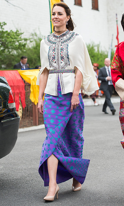 We love this a purple patterned kira skirt by Kelzang Wangmo, which she topped off with an embroidered wool cape top by Paul & Joe.