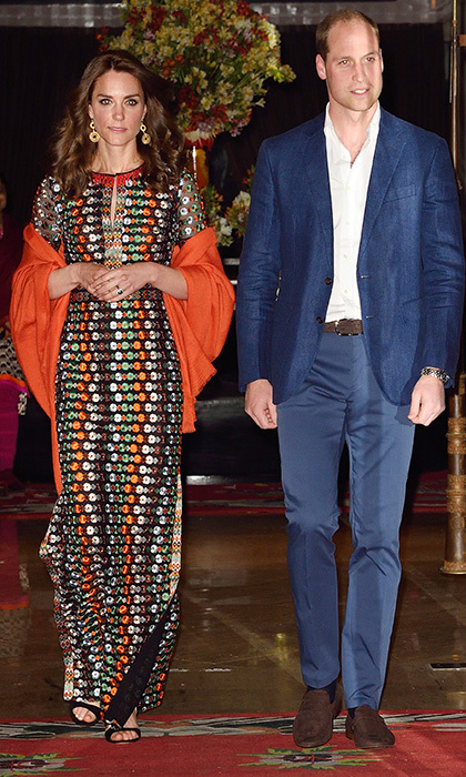 Kate dazzled in a floral mesh Tory Burch maxi gown featuring retro-inspired flowers and side slits for a private dinner with the Himalayan Kingdom's Dragon King and Queen. The bold dress has also been worn by stars like Drew Barrymore.