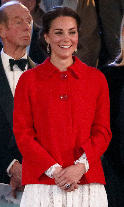 The ever-stylish royal added a pop of color to her outfit with a red Zara jacket to attend the final performance of the Queen's 90th Birthday Celebrations held at Windsor Castle.