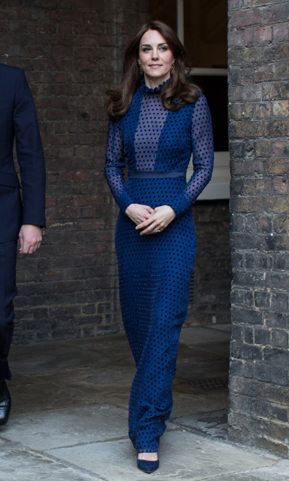 Princess Charlotte's mom looked regal in this illusion dot maxi dress by Saloni Lodha for a spring reception at Kensington Palace.