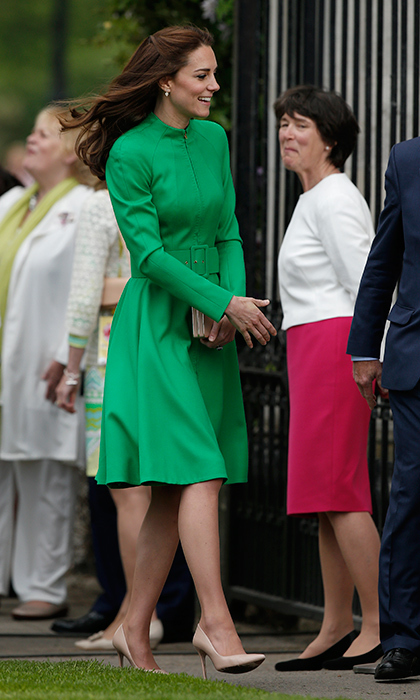The Duchess of Cambridge had us green with envy wearing a vibrant, summer-color Catherine Walker coat dress to the Chelsea Flower Show.