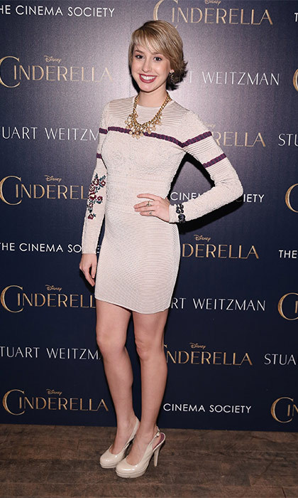 Hitting up a screening of Disney's <i>Cinderella</i> in March 2015, Jazmin showed off her toned legs in a cream and purple mini-dress that she paired with simple cream pumps.