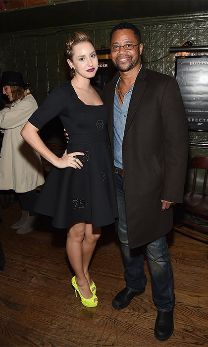 Rocking a neon stiletto, Jazmin posed up a storm alongside Cuban Gooding Jr. at a pre-release <i>Spectre</i> screening in November 2015.