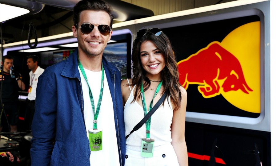 Ma 28: A little racing, a lot of love! Louis Tomlinson and Daniel Campbell posed in the Red Bull racing garage during the Monaco Formula One Grand Prix.