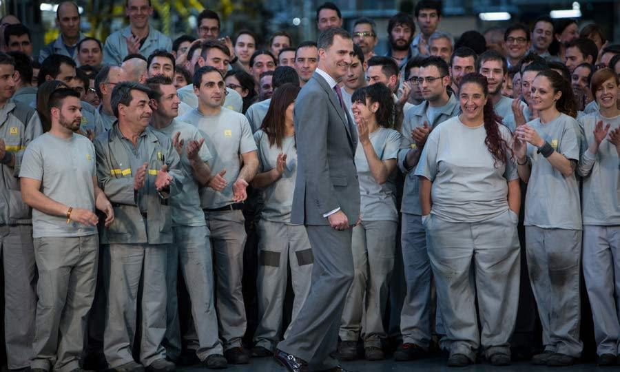 A royal welcome. Renault factory workers were overwhelmed when King Felipe VI of Spain turned up at their factory in Palencia, Spain, for a visit. The father-of-two looked smart in a dark grey suit and purple tie.