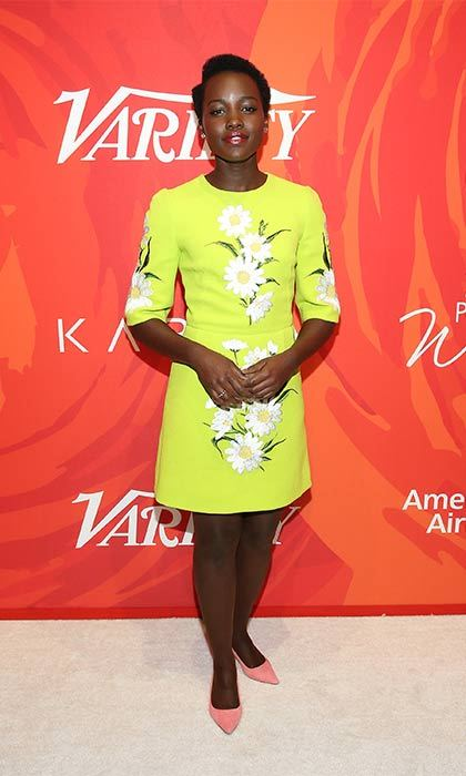 Daisies and pink shoes for Lupita Nyong'o's short and sweet look.
