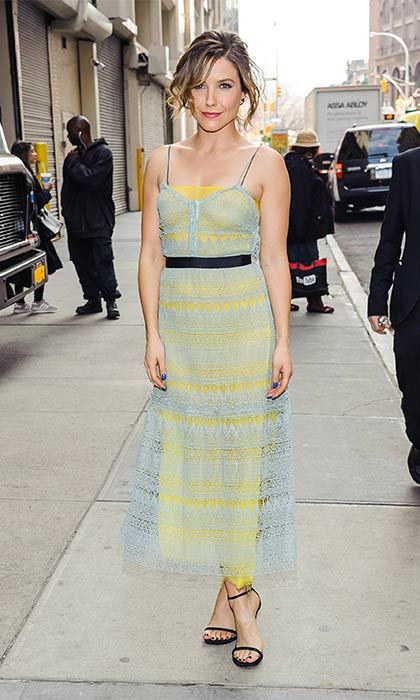 A sweet powder blue lace overlay adds dimension to Sophia Bush's spring look.