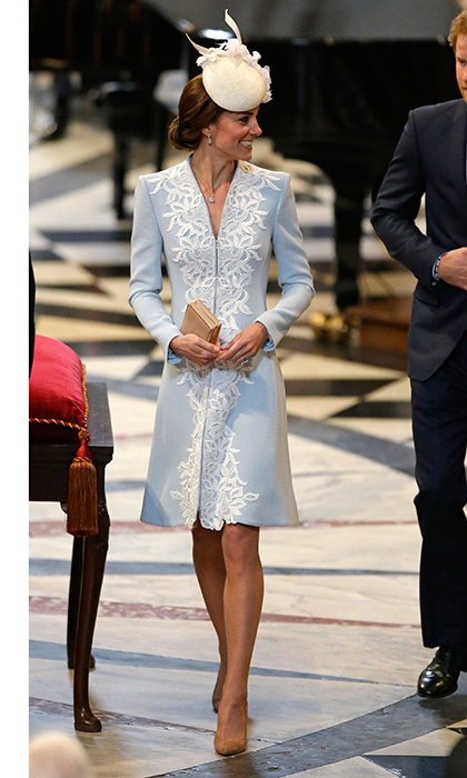 Attending Queen Elizabeth's 90th birthday thanksgiving service at St Paul's Cathedral, the Duchess of Cambridge wore a pale blue dress by Catherine Walker with white appliquéd lace detail. Kate topped off the look with a hat by her fave milliner Jane Taylor. 