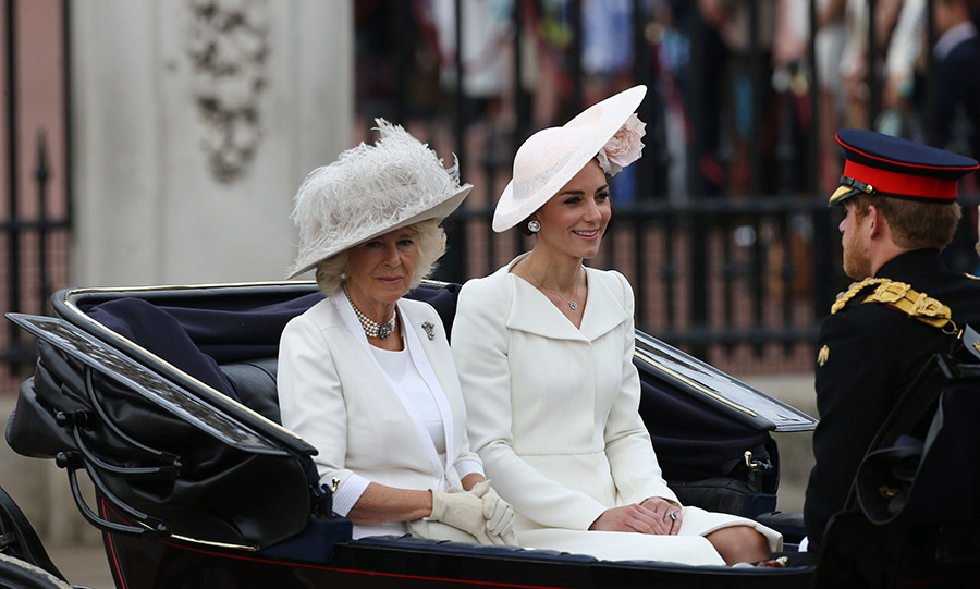 The Duchess of Cornwall, Kate Middleton and Prince Harry were the first royals to leave Buckingham palace. The trio were driven to the Horse Guards Parade in a carriage.