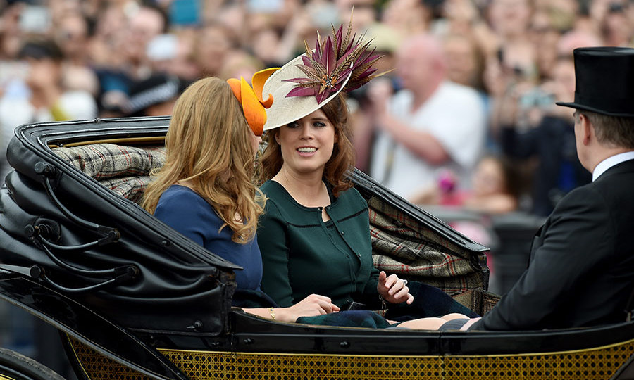 Princesses Beatrice and Eugenie joined their father Prince Andrew in the carriage on their way to watch the parade.