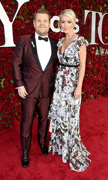 The host of the CBS broadcast, James Corden, looked dapper on the Tony's red carpet alongside his wife Julia Carey.