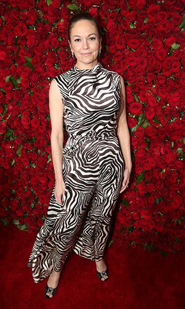 Diane Lane took a walk on the wild side wearing a zebra-printed jumpsuit.