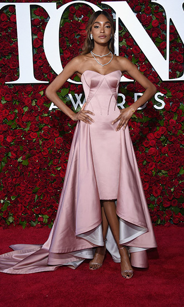 Jourdan Dunn was pretty in pink wearing a strapless Zac Posen gown that featured a high-low skirt.