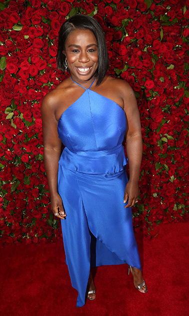 <i>Orange Is the New Black</i> actress Uzo Aduba was anything but blue in a halter gown featuring a peplum detail.