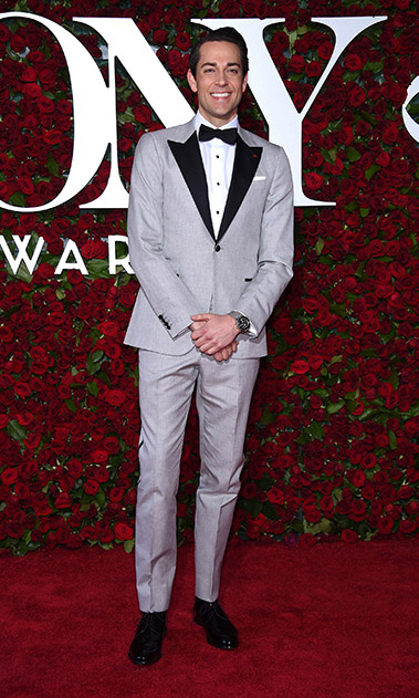 <i>She Loves Me</i> nominee Zachary Levi looked cool in a grey suit with black lapels and bow tie.