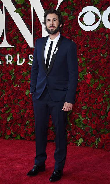 Singer Josh Groban opted for a blue suit and skinny black tie for the 2016 Tony Awards.