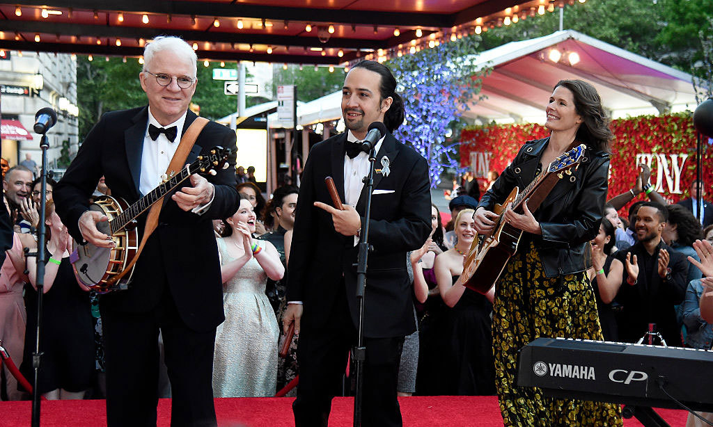 Steve Martin performed with Lin-Manuel Miranda and Edie Brickell outside the Beacon Theatre during the 70th annual Tony Awards.