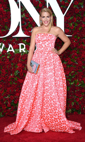 Actress Busy Philipps looked dainty in a strapless pink and white floral ball gown at the 2016 award show. 
