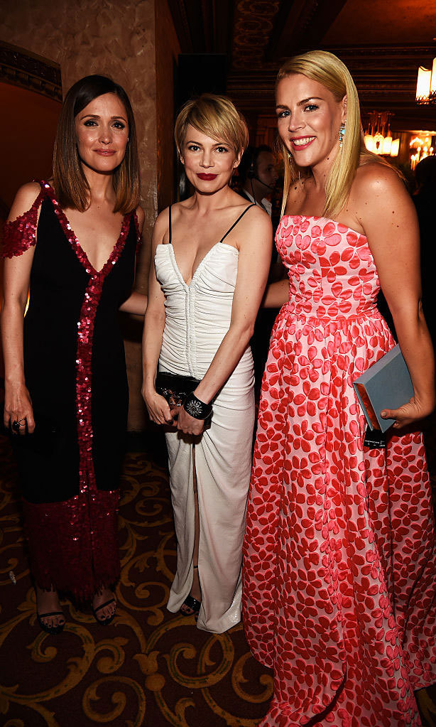 Three's company with these ladies! Rose Byrne, Michelle Williams and Busy Philipps mingled inside the Beacon Theatre.