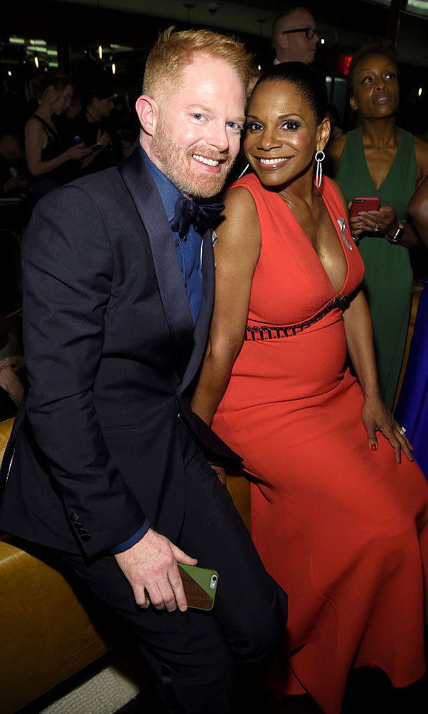 <i>Modern Family</i> actor Jesse Tyler Ferguson and Tony Award-winning actress Audra McDonald smiled for the cameras at the 2016 Tonys.