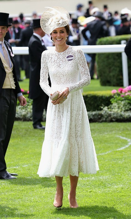 The royal mom-of-two was lovely in lace for her Ascot debut wearing a white Dolce & Gabbana dress, which she paired with a matching Jane Taylor fascinator.