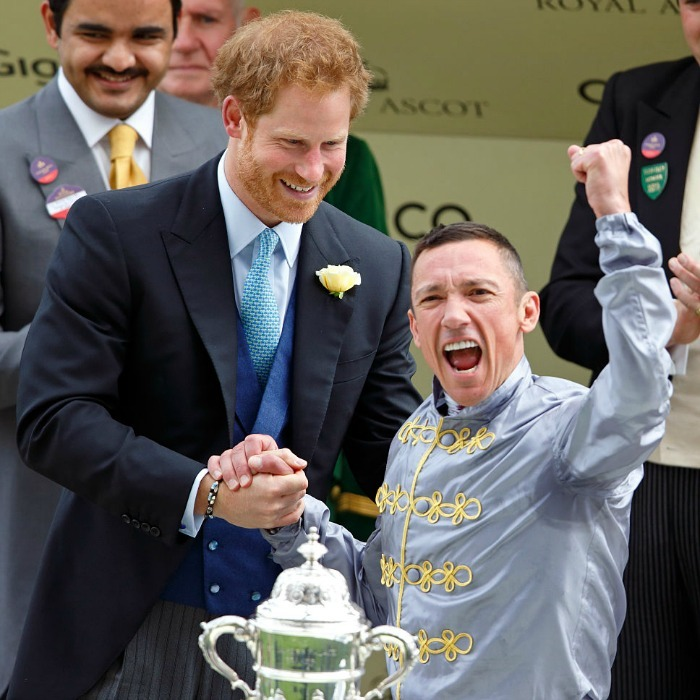 Our reaction exactly! Prince Harry presented Frankie Dettori with his prize for winning the St James's Palace stakes on the first day.