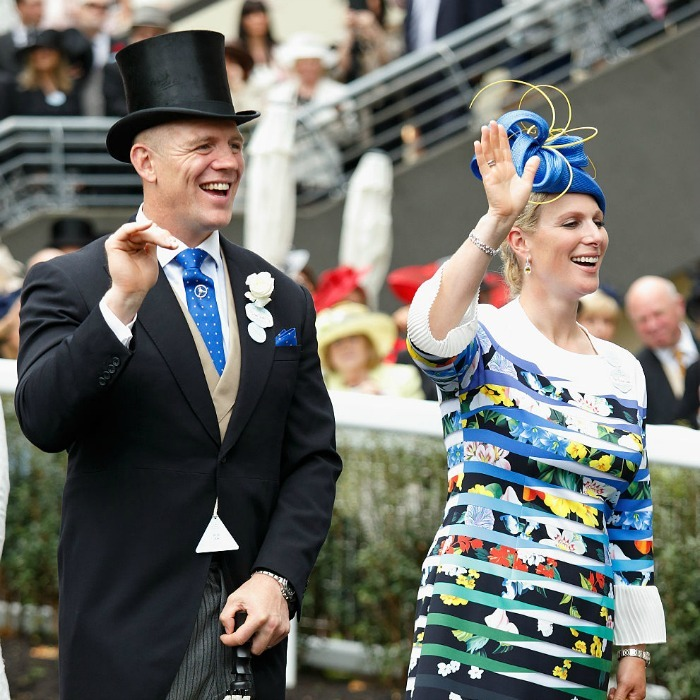 Mike Tindall joined his wife who opted for a vibrant striped ensemble.