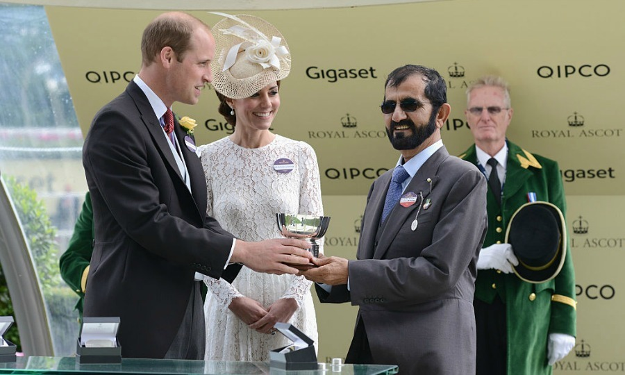 Will and Kate awarded the Duke of Cambridge Stakes winner trophy to owner Mohammed bin Rashid Al Maktoum on the second day.