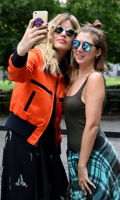 Nothing shady here! Georgia May Jagger snapped a selfie with <b>HELLO!</b>'s Entertainment Director Ali Puliti at Sunglass Hut's Shades of You launch in New York City.